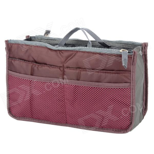 BIB001 Double Zipper Handheld Nylon + Cotton Storage Organizer Bag - Claret Red Salt Lake City Куплю вещи