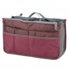 BIB001 Double Zipper Handheld Nylon + Cotton Storage Organizer Bag - Claret Red
