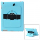 Protective PC Back Case w/ 360 Degree Rotation Hand Strap Holder for Ipad 3 / 4 - Blue