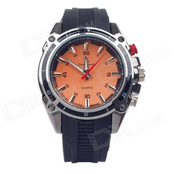 Super Speed V6 V0158 Cool Quartz Analog Wrist Watch for Men - Black + Silver + Coral (1 x LR626) v6 super speed v007 fashion pu leather band quartz men s wrist watch black silver 1 x lr626