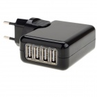 Universal Travel 4-USB Port AC Power Charger Adapter for Iphone + More - Black (EU Plug / 100~240V)