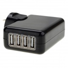Universal Travel 4-USB Port AC Power Charger Adapter for Iphone + More - Black (US Plug / 100~240V)