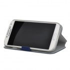 Protective PU Leather + Plastic Flip-Open Case for Samsung i9500 - Blue