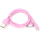 USB to 8-Pin Lightning / 30-Pin / Micro USB Charging Cable for iPhone 5 / 4S / Samsung - Pink