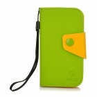 Protective PU Leather Flip-Open Case for Samsung Galaxy S3 Mini / i8190 - Green + Yellow