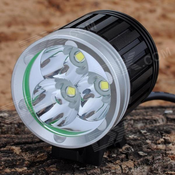 SL-8203 2700lm 4-Mode White Bicycle Light & Headlamp w/ 3 x Cree XM-L T6 - Black+Silver ( 4 x 18650)