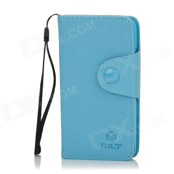 Protective PU Leather Flip-Open Case w/ Strap for Samsung i9070 - Blue