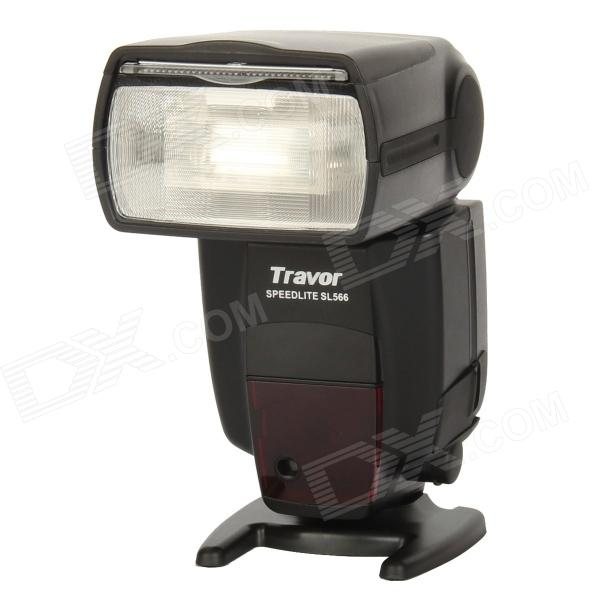 Travor SL566 2.0 LCD 5600K Flash Light Speedlite for Canon / Nikon DSLR Camera - Black (4 x AA) spash sl 685c gn60 wireless master slave flash light ttl speedlite for nikon lcd screen cameras flash adjustable fill light