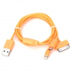 USB-zu-8-Pin Blitz / 30-Pin / Micro-USB-Ladekabel für iPhone 5 / 4S / Samsung - Orange