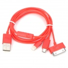 USB-zu-8-Pin Blitz / 30-Pin / Micro-USB-Ladekabel für iPhone 5 / 4S / Samsung - Red