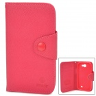 Fashion PU Leather Case w/ Card Slot for Samsung Galaxy Express i8730 - Deep Pink
