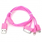 USB-zu-8-Pin Blitz / 30-Pin / Micro-USB-Ladekabel für iPhone 5 / 4S / Samsung - Deep Pink