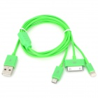 USB to 8-Pin Lightning / 30-Pin / Micro USB Charging Cable for iPhone 5 / 4S / Samsung - Green