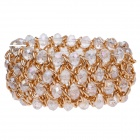 Retro Multilayer Rhinestone + Albronze Wide Chain Bracelet - Golden + Transparent