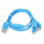 USB to 8-Pin Lightning / 30-Pin / Micro USB Charging Cable for iPhone 5 / 4S / Samsung - Blue
