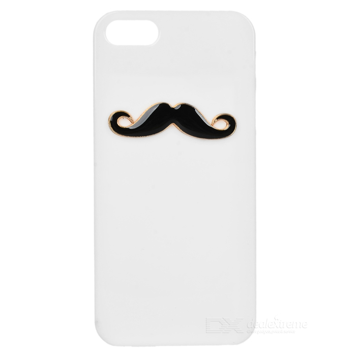 Mustache Style Protective TPU Back Case for Iphone 5 - White + Black pc tpu protective back case for iphone 5 black white