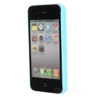 Mustache Style Protective TPU Back Case for Iphone 4 / 4S - Blue + White