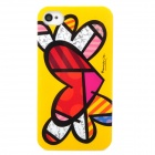 Love Heart Graffiti Style Protective Plastic Back Case for iPhone 4 / 4S - Multicolor