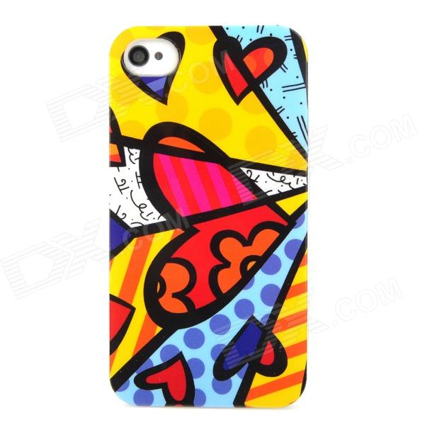 Cool Love Heart Graffiti Style Protective Plastic Back Case for Iphone 4 / 4S - Multicolor cool skull head style protective soft silicone back case for iphone 4 4s pink