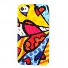 Cool Love Heart Graffiti Style Protective Plastic Back Case for Iphone 4 / 4S - Multicolor