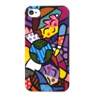 Boy & Girl Graffiti Style Protective Plastic Back Case for Iphone 4 / 4S - Multicolor