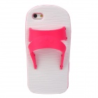Creative Slipper Style Protective Silicone Back Case for Iphone 5 - Deep Pink + White