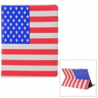 US National Flag Style Protective PU Leather Case for Ipad 2 - Red + White + Blue