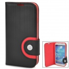 Baseus PU Leather + TPU Flip-Open Case for Samsung i9500 / i9508 / i9502 / i959 - Black + Red