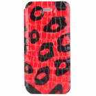 Leopard Style Protective PU Leather + PC Case for iPhone 5 - Red + Black