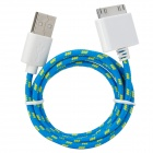 USB to 30-Pin Data/Charging Woven Cable for iPhone 4 / 4S / 3G / 3GS - Blue + Yellow + White