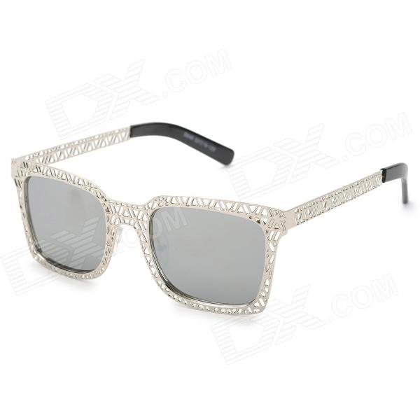 KAIZI S649-C8 UV400 Protection Nickel Alloy Frame Resin Lens Sunglasses - Silver +Grey cy8150 fashion women s resin uv400 protection sunglasses leopard pattern frame