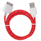 USB 30-Pin-Daten / Charging Woven-Kabel für iPhone / iPad / iPod - Red + Black + White
