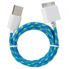 USB to 30-Pin Data/Charging Woven Cable for iPhone / iPad / iPod - Light Blue + Yellow