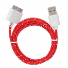 USB to 30-Pin Data/Charging Woven Cable for iPhone 4 / 4S / 3G / 3GS - Red + White