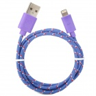 USB-zu-8-Pin Blitz Data / Laden Nylon Gewebe-Kabel für iPhone 5 / iPad 4 / Mini - Purple (100cm)