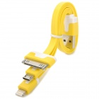 USB to 8-Pin Lightning / 30-Pin / Micro USB Flat Charging Cable for iPhone 5 / Samsung - Yellow