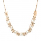 Gold Plating Cross Flowers Pearl Necklace - Golden + Beige