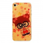Glasses Girl Pattern Protective Plastic Front + Back Skin Protectors for Iphone 4 / 4S - Orange