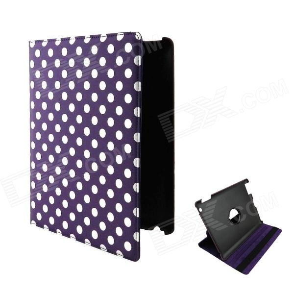 360 Degree Rotation Protective PU Leather Case for Ipad 2 / 3 / 4 - Purple + White momax x lens 4 in 1 120 degree wide angle 15x macro lens 180 degree fisheye cpl filter for smartphone tablet silver