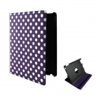 360 Degree Rotation Protective PU Leather Case for Ipad 2 / 3 / 4 - Purple + White