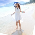 YLY-B6-1312#/ Chiffon Roman Sexy Bead Neck Dress - White