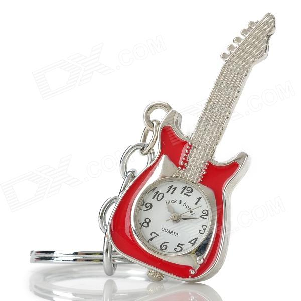 Guitar Style Zinc Alloy Quartz Analog Keychain Watch - Silver + Red