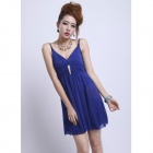 YLY-D719-8630 Sexy Elegant Shoulder Strap Party Dress - Blue