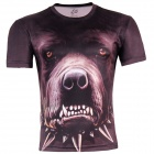 LAONONGZHUANG Cool 3D Dog Head Pattern Artificial Fiber T-Shirt for Men - Brown + Black (XL)