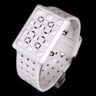 LUWEITE 5088A Fashion Sport Men's Square Stainless Steel Digital Wrist Watch - White (1 x CR2032)