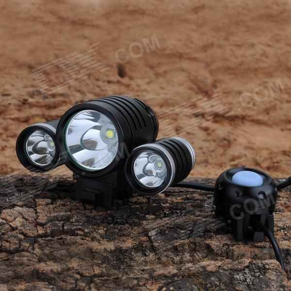 SL-2014 1800lm 4-Mode White Bicycle Headlamp w/ 1-Cree XM-L T6 + 2-Cree XP-E R5 - Black (4 x 18650) sl 8203 2700lm 4 mode white bicycle light