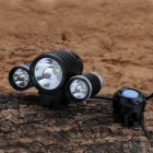 SL-2014 1-Cree XM-L T6 + 2-Cree XP-E R5 1800lm 4-Mode White Bicycle Headlight - Black (4 x 18650)