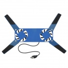 "Mini Folding USB 2.0 2-Fan Base Cooler Pad for 10""~14"" NoteBook - Blue"