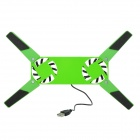 "Mini Folding USB 2.0 2-Fan Base Cooler Pad for 10""~14"" NoteBook - Green"