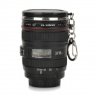 Creative Mini DSLR Lens Style PC + Stainless Steel Drinking Cup w/ Cover / Keychain - Black (50ml)